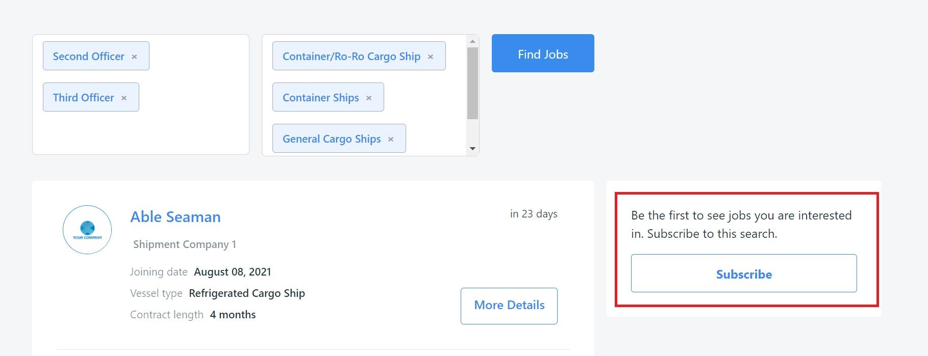 screenshot showing the subscribe to seafarer jobs button