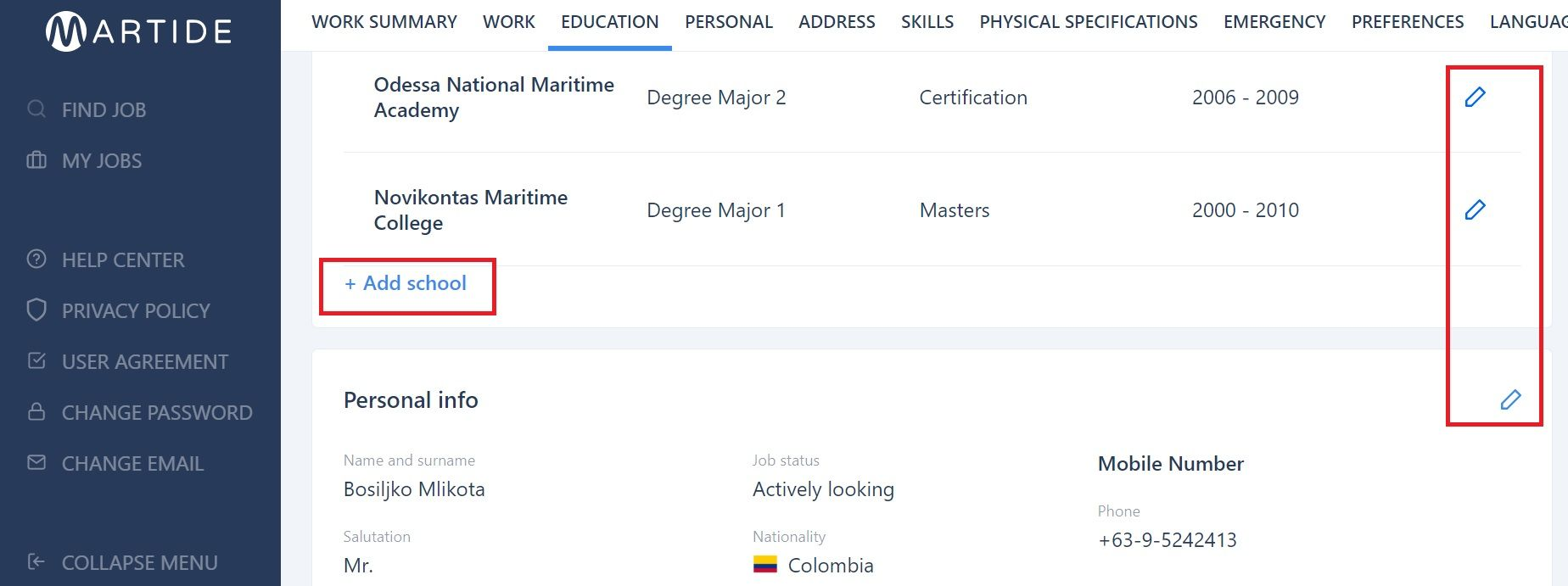 screenshot of the user profile page showing the plus sign and pen icons