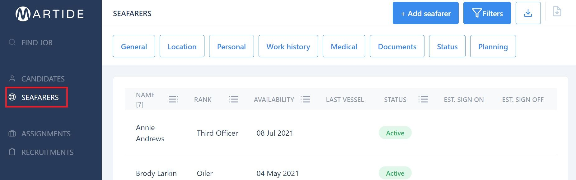 screenshot of Martide website showing the menu and seafarers page