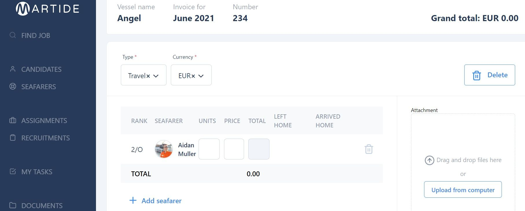 screenshot showing a seafarer added to an expense