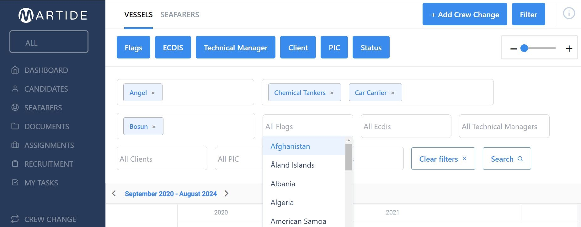 screenshot of the vessels page showing how to filter the search