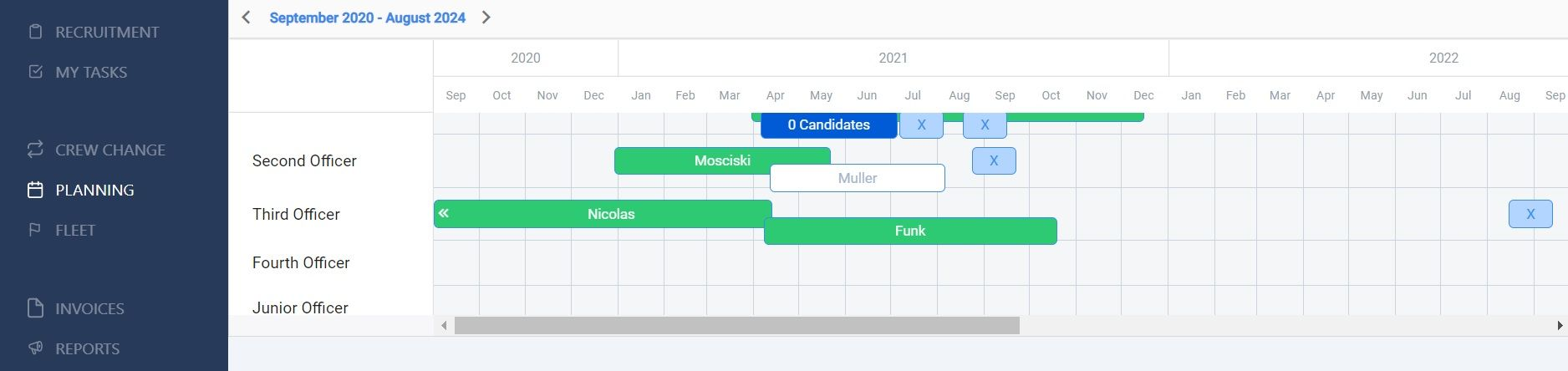 screenshot of the calendar with different seafarer scheduling