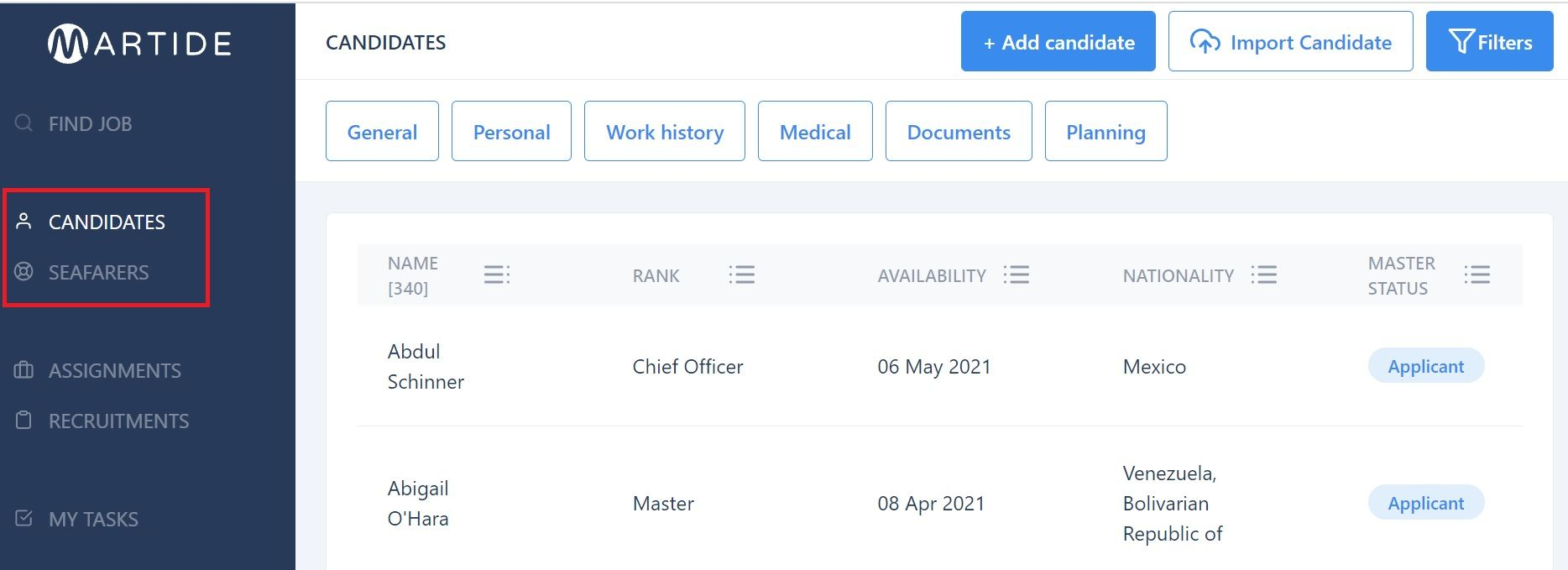 screenshot showing where to click on Candidates and Seafarers